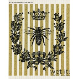 Wet-it ! French Bee Black and Gold Swedish Cloth
