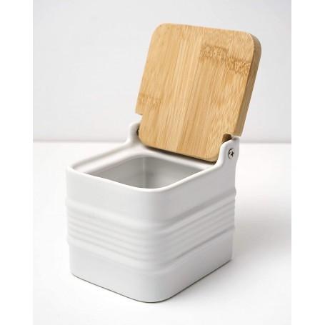 White Stoneware Salt Box