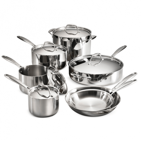12 Piece Tri-Ply Clad Stainless Steel Cookware Set