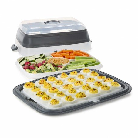 Prepworks Collapsible Entertaining Carrier with Deviled Egg Tray