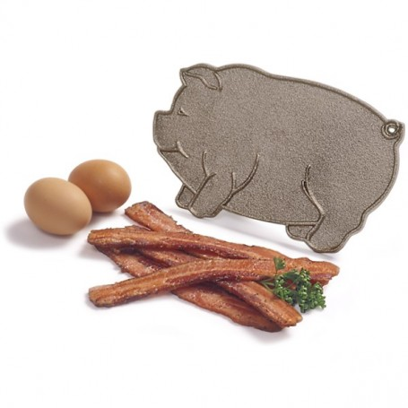 Cast Iron Pig Shaped Bacon Press with Wood Handle